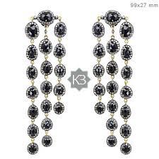 Designer Chandelier Earrings Sterling Silver Pave Gemstone Black Spinel Chandelier