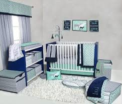 bacati noah tribal mint navy 10 pc crib set with 2 crib fitted
