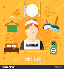 room service hotel design concept maid stock vector 711543079