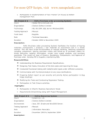 Manual Testing Sample Resumes by Qtp Resume Resume Cv Cover Letter
