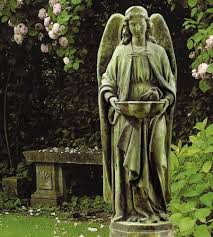 holy water font outdoor garden religious figurine statue