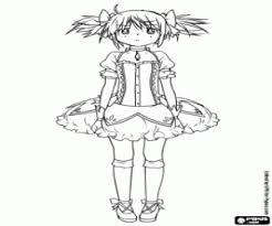 madoka kaname anime character coloring page printable game