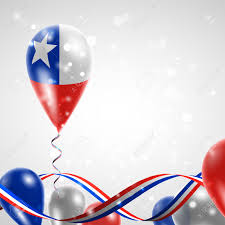 Th Flag Flag Of Chile On Balloon Celebration And Gifts Ribbon In The