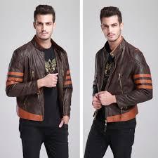 leather jacket halloween costume x men origins wolverine brown biker leather jacket coat costume