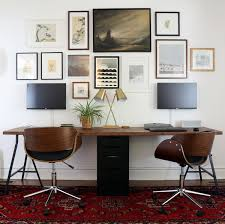 two person ikea desk with lerberg trestle legs and karlby