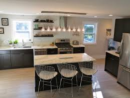 Kitchen With Black Cabinets White Subway Tile Backsplash Open - Kitchen shelves and cabinets