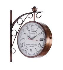 clock buy buy victoria two sided railway wall clock iron 8 inch online