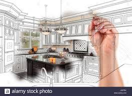 Custom Kitchen Design Hand Drawing Custom Kitchen Design With Gradation Revealing Stock