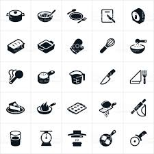 kitchen utensils dishware and cookware icons stock vector art
