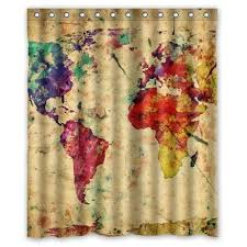 World Map Fabric Shower Curtain Boskgml Custom Vintage Colorful World Map Waterproof