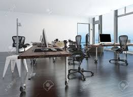 contemporary minimalist office interior with workstations set
