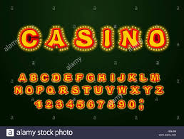 casino font glowing lamp letters retro alphabet with lamps