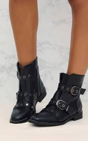 ladies ankle biker boots women u0027s boots shoes online prettylittlething usa