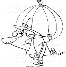 vector cartoon pilgrim carrying heavy pumpkin coloring
