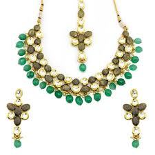 new necklace set gold images Gold plated ethnic wear with green stone necklace set jpg