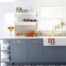 houzz blue kitchen cabinets 75 beautiful cement tile floor kitchen with blue cabinets