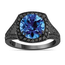 black and blue wedding rings blue topaz engagement ring with diamonds wedding ring 14k black