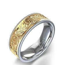mens rings wedding images Men 39 s wedding ring with milgrain scroll pattern in 14k two tone jpg