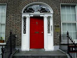 decorations captivating red doors on white house with green