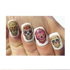 sugar skull nails decal nail art manicure day of the dead skull