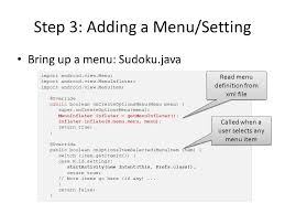 android oncreateoptionsmenu understanding android ui and intents by implementing sudoku uichin