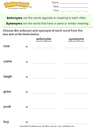 choose the antonym and synonym of words worksheet turtle diary