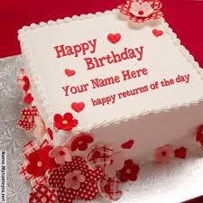 write name on happy returns birthday cake happy birthday cake
