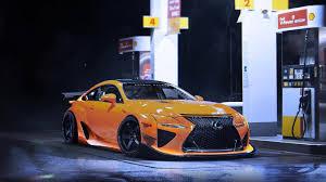 lexus rcf a yellow sport car night wallpaper 1366x768