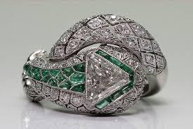 san mateo antique engagement ring art deco diamond emerald cobra