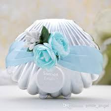 wedding candy favors beautiful wedding candy boxes favors blue shell conch with ribbon