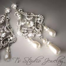 and pearl chandelier earrings pearl chandelier bridal earrings dangling rhinestone
