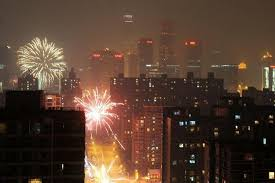 fireworks lantern fireworks smudge air in beijing at lantern festival china news