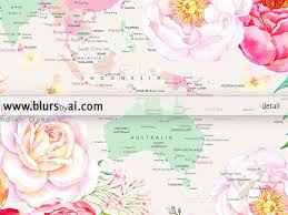 World Map Thailand by Printable World Map With Cities Pastel Florals Large 36x24