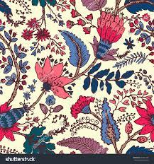 seamless pattern fantasy flowers natural wallpaper stock vector