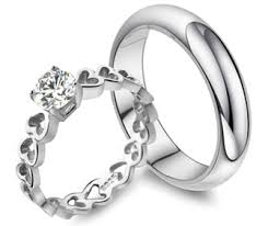 promise ring sets s heart link ring and wedding band set in 925 sterling
