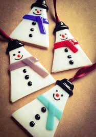 handmade fused glass snowman hanging decorations by minxenamels