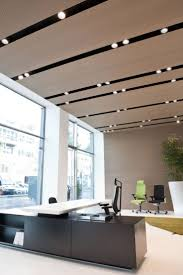 timber ceiling with strip lighting