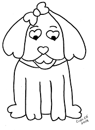 hearts the dog coloring page