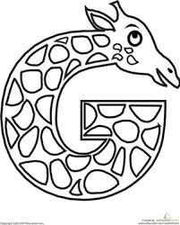 lowercase letter g coloring page letter g coloring page giraffe shapes and learning