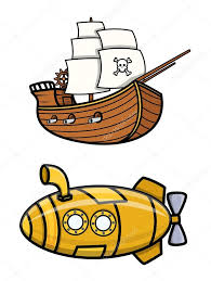 old pirate ship and submarine cartoon vector illustration