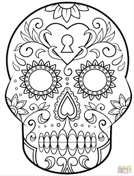 skull pages free archives best skull skull and rose coloring pages