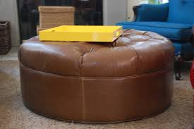 Leather Ottoman Round by Furniture Round Leather Ottoman Tufted Ottoman With Storage