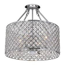 marya 4 light round drum semi flush mount crystal chandelier