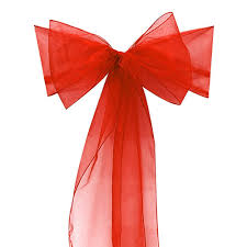 Bows For Chairs 100pcs Red Organza Chair Sashes Bow Cover Banquet Wedding Party