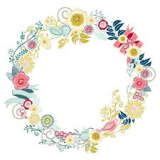 flower wreath colourful flower clip floral wreath digital clipart bird