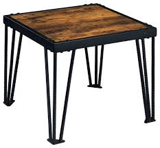 Metal And Wood Sofa Table by Industrial End Table With Wood Top Black Metal Legs Industrial