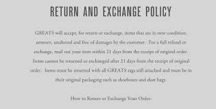 greats returns and exchange policy in terms of use business and