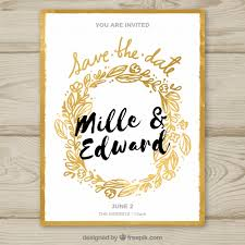 wedding invitations freepik wedding invitation with golden floral frame vector free