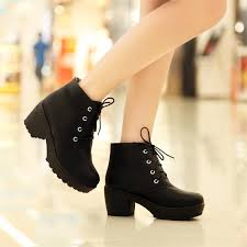 womens boots ebay toe lace up chunky platform block heels oxford shoes ankle