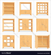 wooden wardrobe cabinet bookshelf royalty free vector image